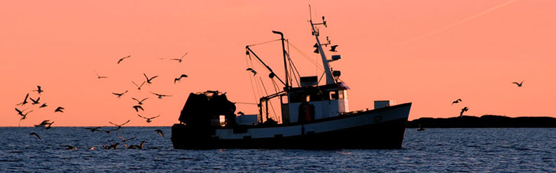 Fishing Boat Silhouette At Sunset